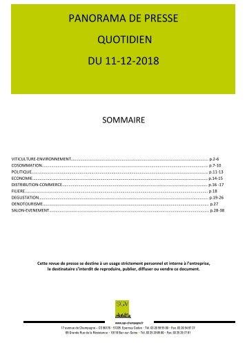 Panorama de presse quotidien du 11-12-2018