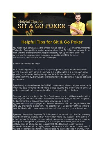 Helpful Tips for Sit & Go Poker