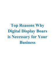 Top Reasons Why Digital Display Boars is Necessary for Your Business