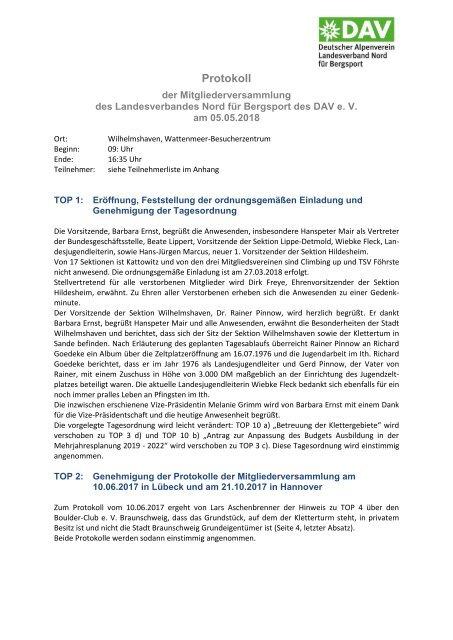 DAV Nord Protokoll vom 05-05-2018 Wilhelmshaven