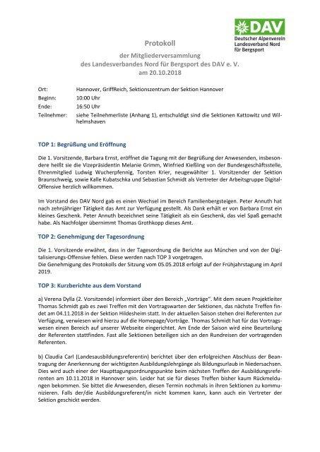 Protokoll Mitgliederversammlung Landesverband Nord Hannover vom 20.10.2018