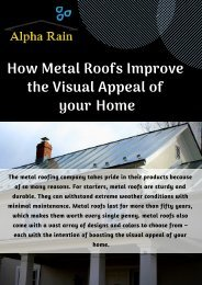 Install Metal Roof by Alpha Rain to Make your Home Beautiful