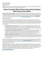 Caster Concepts Offers Various Heavy-Duty Industrial Steel Caster Case Studies