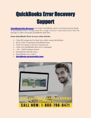 QuickBooks Error Recovery Support : 1800-796-0471