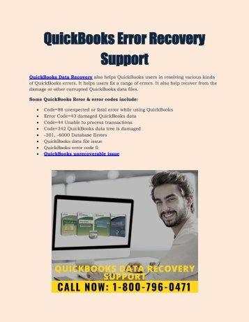 QuickBooks Error Recovery Support : 1800-796-0471
