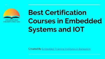 Professional Training Institute - Best Certification Courses in Embedded Systems and IOT