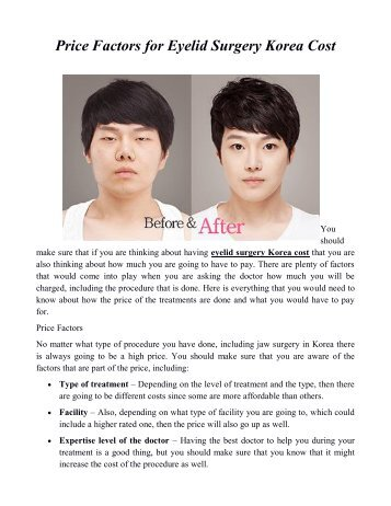Price Factors for Eyelid Surgery Korea Cost