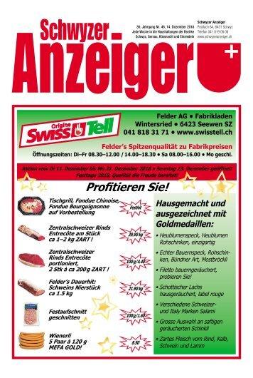 Schwyzer Anzeiger – Woche 50 – 14. Dezember 2018