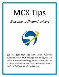 Best MCX tips - shyamadvisory