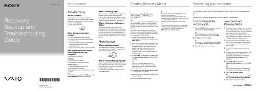 Sony VPCZ23K9E - VPCZ23K9E Guida alla risoluzione dei problemi Inglese