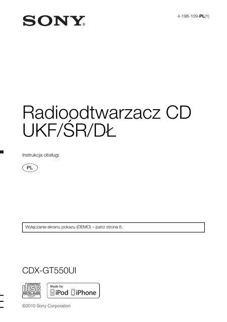 Sony CDX-GT550UI - CDX-GT550UI Consignes d'utilisation Polonais