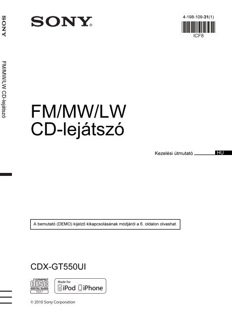 Sony CDX-GT550UI - CDX-GT550UI Consignes d'utilisation Hongrois