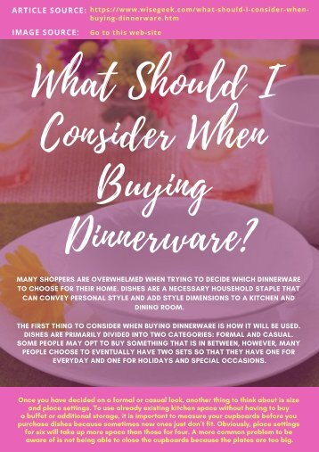 What Should I Consider When Buying Dinnerware