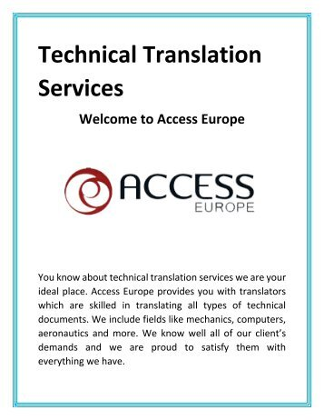 Technical Translation Services - Access Europe