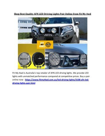 Shop Best Quality AFN LED Driving Lights Pair Online from Fit My 4wd