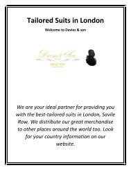 Tailored Suits in London - Davies & son