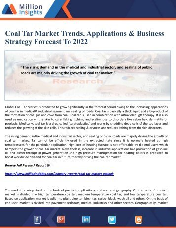 Coal Tar Market Trends, Applications & Business Strategy Forecast To 2022