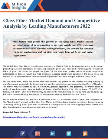 Glass Fiber Market Demand and Competitive Analysis by Leading Manufacturers 2022