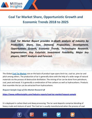 Coal Tar Market Share, Opportunistic Growth and Economic Trends 2018 to 2025