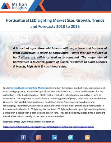 Horticultural LED Lighting Market Size, Growth, Trends and Forecasts 2018 to 2025