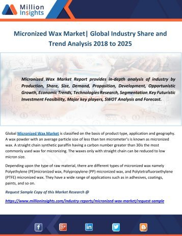 Micronized Wax Market Global Industry Share and Trend Analysis 2018 to 2025