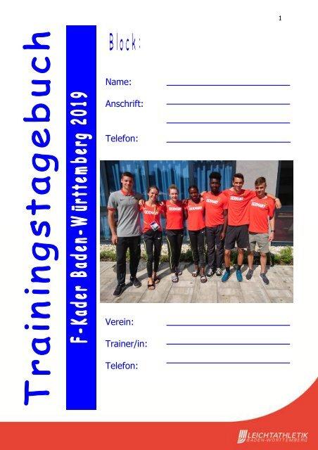 Trainingstagebuch Leichtathletik Baden-Württemberg 2019