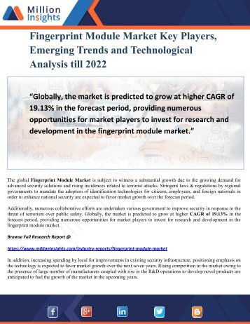 Fingerprint Module Market Key Players Analysis, Emerging Trends and Technological Analysis till 2022