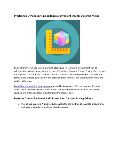 Presta Dynamic Pricing Addon By