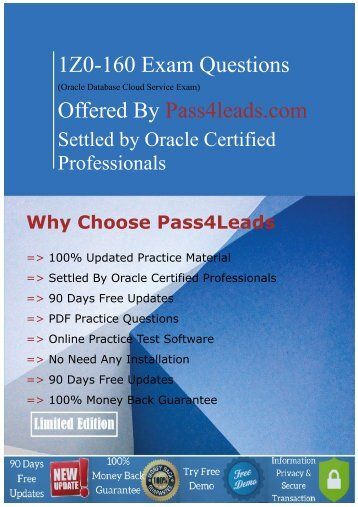 Updated (2018) Oracle 1Z0-160 Exam question - Pdf