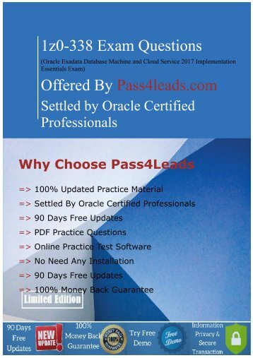 Updated (2018) Oracle 1z0-338 Exam question - Pdf