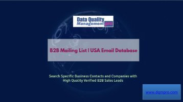 B2B Mailing List | Business Sales Leads | USA Email Database