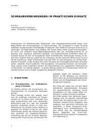 SCHRAUBVERBINDUNGEN IM PRAKTISCHEN EINSATZ - Kurt Pock