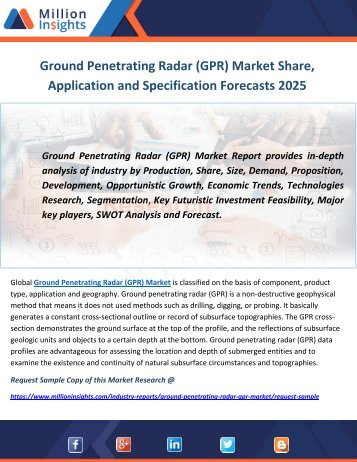 Ground Penetrating Radar (GPR) Market Share, Application and Specification Forecasts 2025
