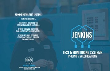 Jenkins Motor Test System and Monitoring Products Pricing