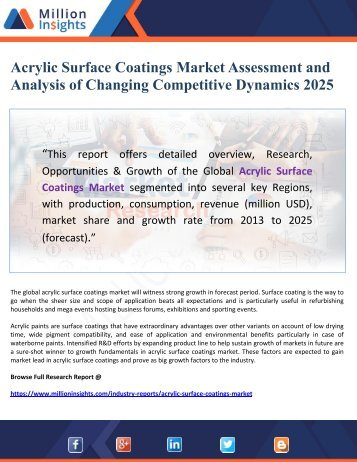 Acrylic Surface Coatings Market Assessment and Analysis of Changing Competitive Dynamics 2025
