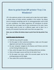 How to print from HP printer Tray 2 in Windows