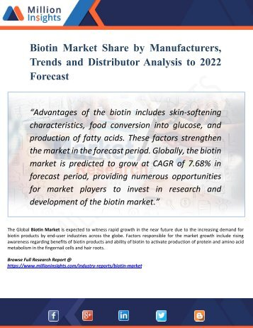 Biotin Market Key Players, Industry Overview, Supply and Consumption Demand Analysis to 2022