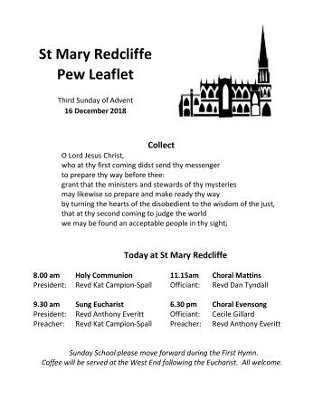 St Mary Redcliffe Church Pew Leaflet - December 16 2018