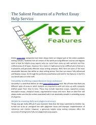 Salient feature of essay help service