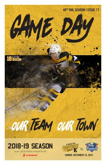 Kingston Frontenacs GameDay December 16, 2018