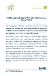 ENGEL gründet eigene Vertriebsniederlassung in ... - Engel Austria