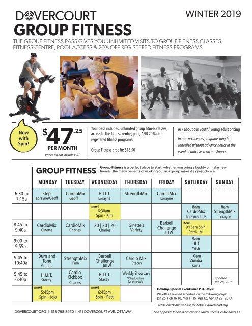 Dovercourt Winter 2019 Group Fitness