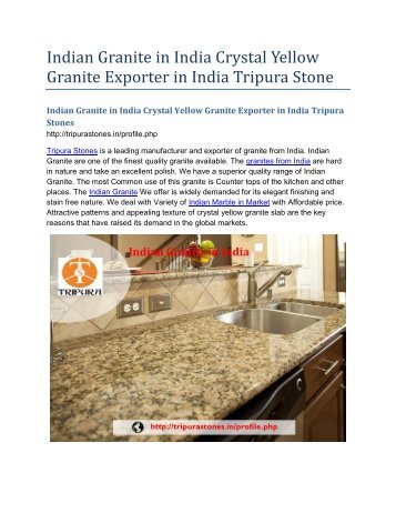 Indian Granite in India Crystal Yellow Granite Exporter in India