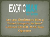 Are you Thinking to Hire a Travel Company in Peru? Contact EXOTIC MAX Tour Operator