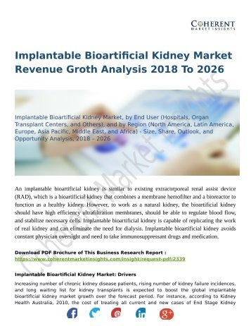 Implantable Bioartificial Kidney Market Revenue Groth Analysis 2018 To 2026