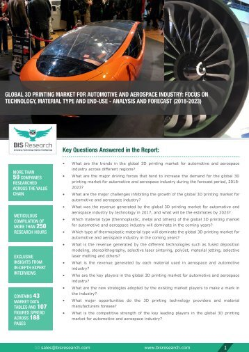 3D Printing for Automotive and Aerospace Market, (2018-2023)
