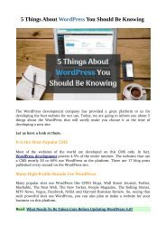 5 Things About WordPress You Should Be Knowing