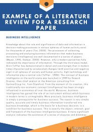 Example of a Literature Review for a Research Paper