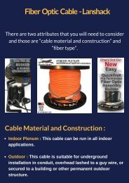 Pre-terminated Fibre Optic Cable Assemblies - Lanshack