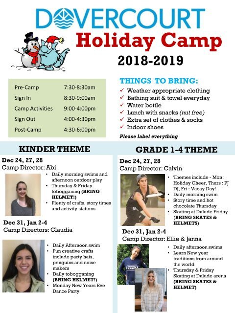 Dovercourt Holiday Camp Newsletters 2018-2019